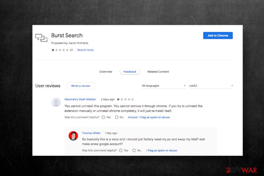 Burst Search extension