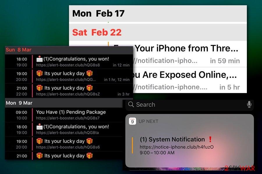 Calendar virus notifications