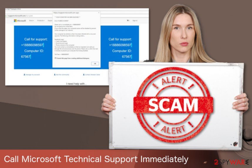 Call Microsoft Technical Support Immediately illustration