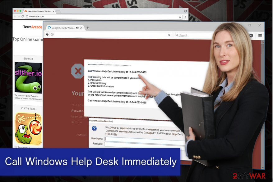 """Call Windows Help Desk Immediately"" virus is displayed by potentially unwanted programs"