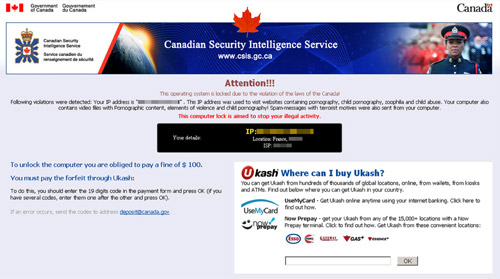 Canadian Security Intelligence Service (CSIS) Ukash