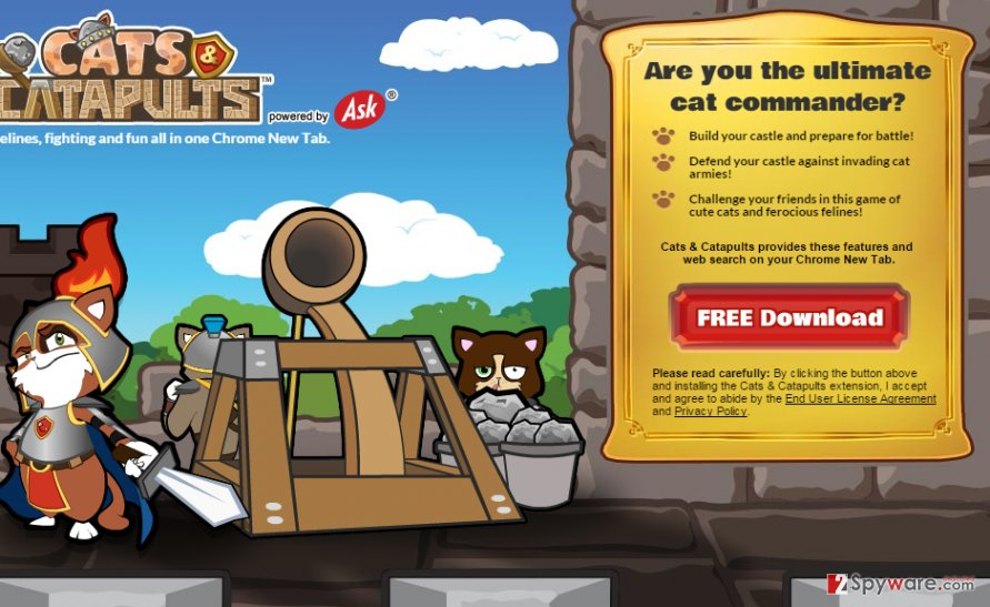 Screenshot of Cats and Catapults website