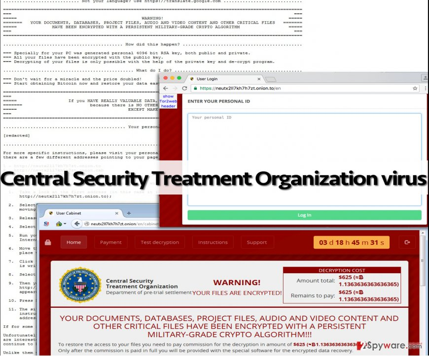Deceptive Central Security Treatment Organization virus messages