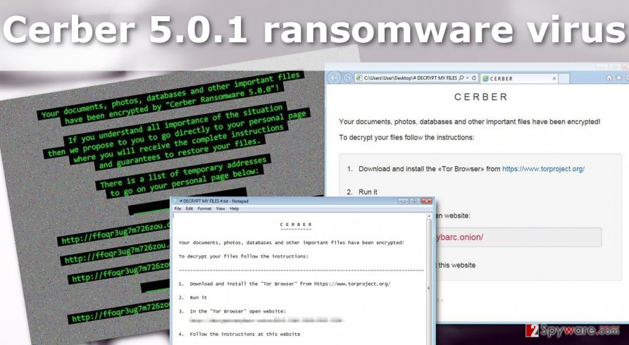 Illustration of the Cerber 5.0.1 ransomware virus