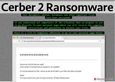 Ransom notes left by Cerber 2.0 ransomware virus