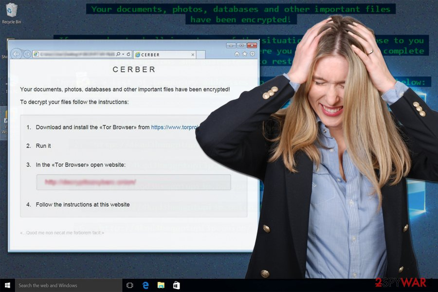 The illustration of .Cerber3 file extension virus