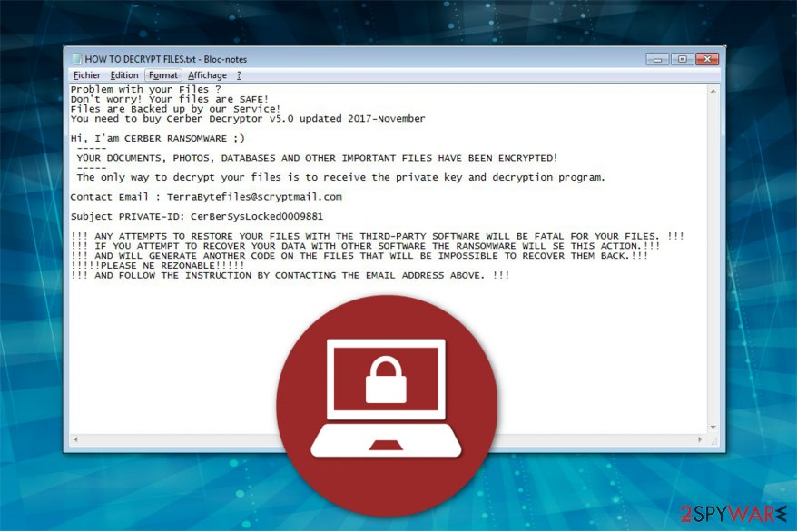 The image of CerBerSysLock ransomware