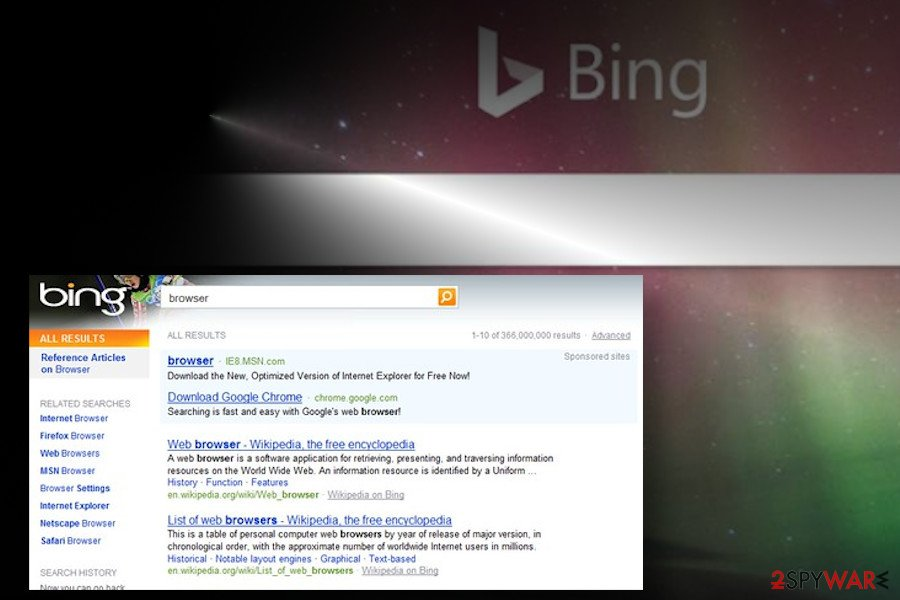 Charming Tab promotes sponsored Bing search
