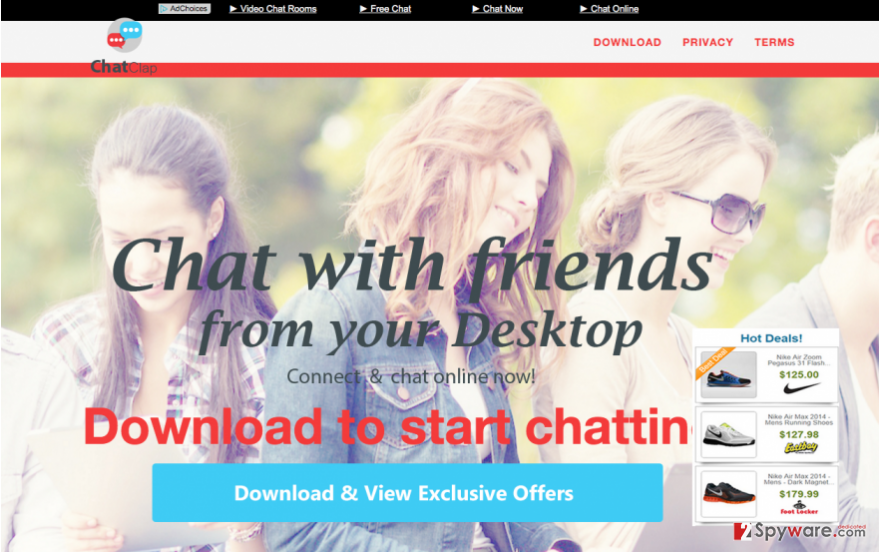 The official website of ChatClap adware