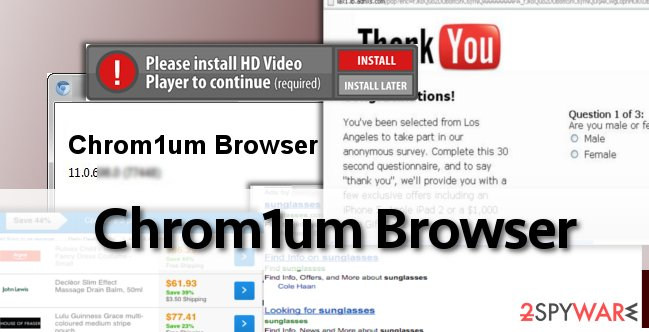 Chrom1um Browser adware displays ads