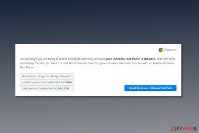 Screenshot of Chrome Font Pack virus