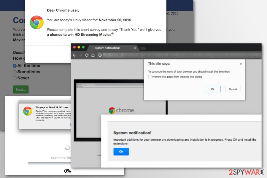 Chrome redirect virus examples
