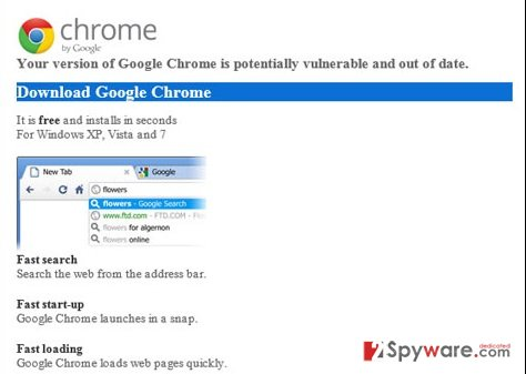 """Your version of Google Chrome is potentially vulnerable and out of date"" snapshot"