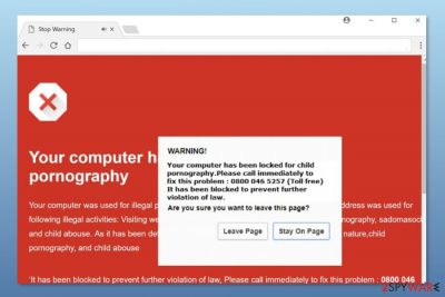 """Example of """"Chrome Security Warning"""" scam"""