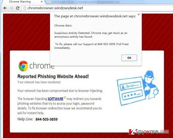 Chromebrowser.windowsdesk.net virus snapshot