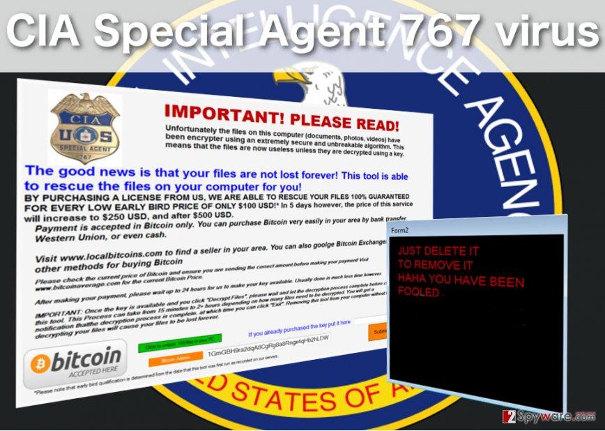 CIA Special Agent 767 lockscreen virus