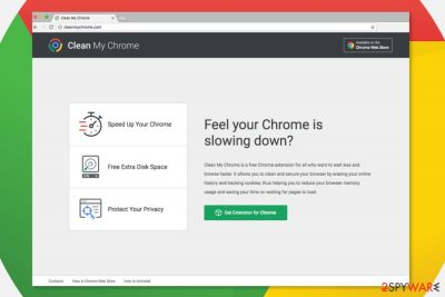 Screenshot of Clean My Chrome download page