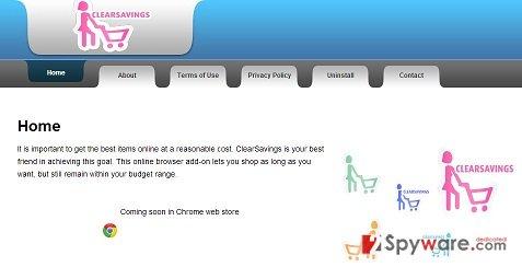 ClearSavings adware snapshot
