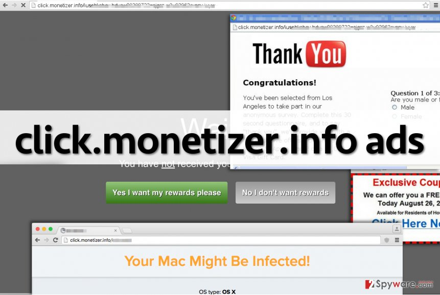 Screenshot of click.monetizer.info ads