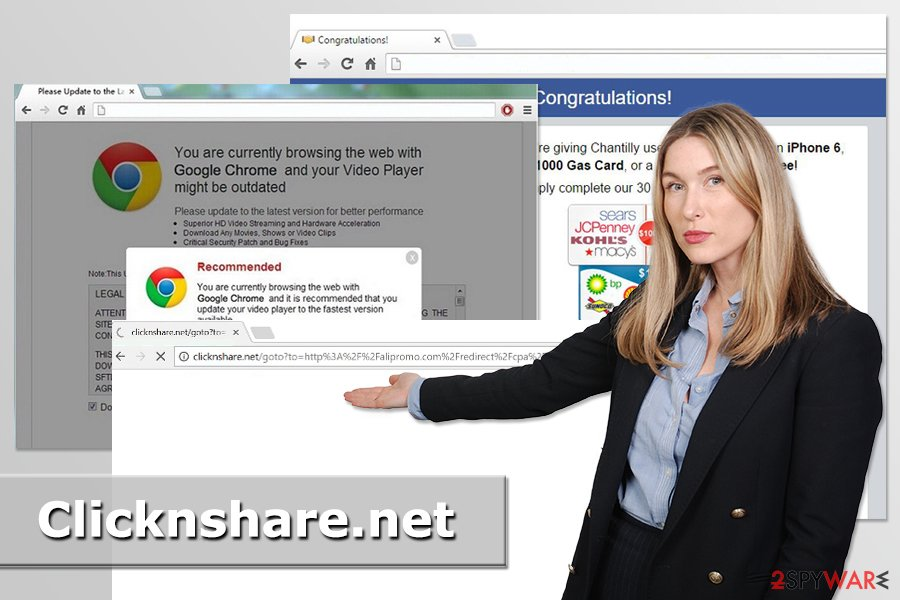 Example of Clicknshare.net redirect virus