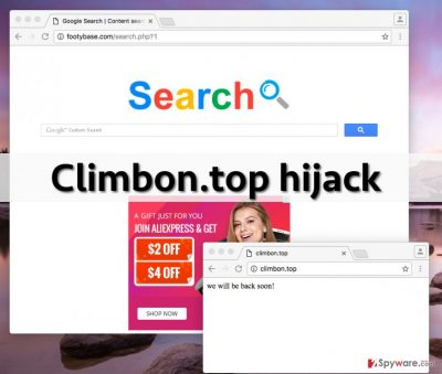 Climbon.top redirect virus wants the user to use this shady search engine