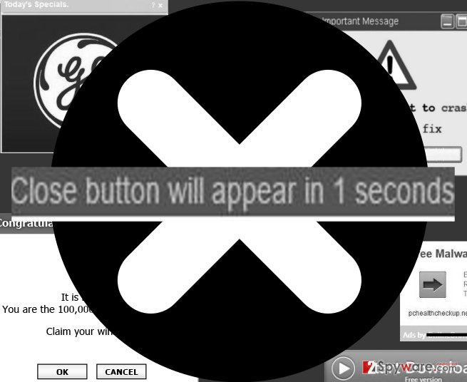An image of Close button will appear in X seconds