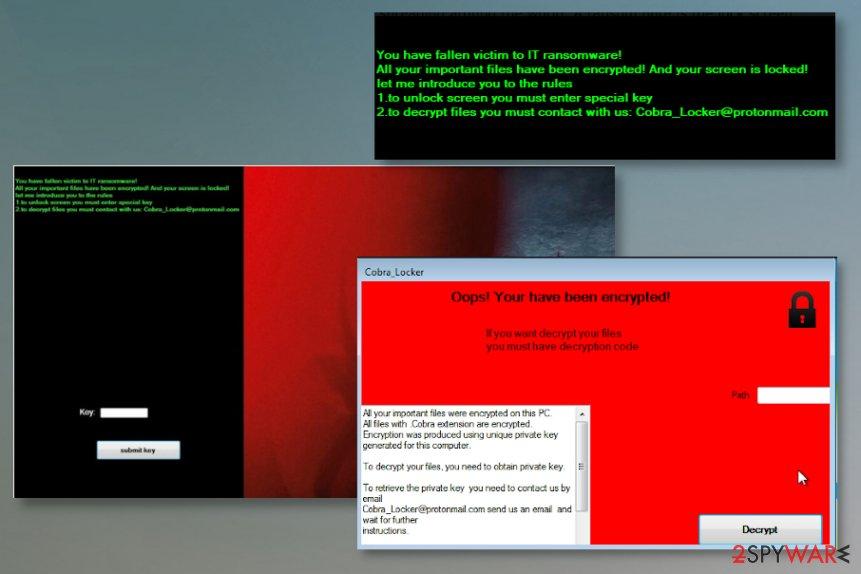 Ransom notes of Cobra Locker ransomware virus