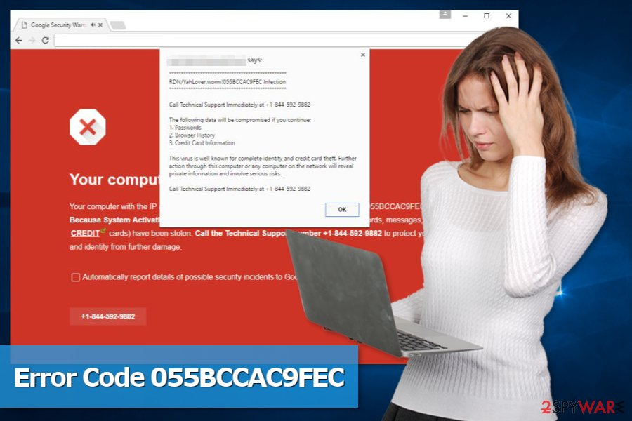 Picture of Code 055BCCAC9FEC tech support scam