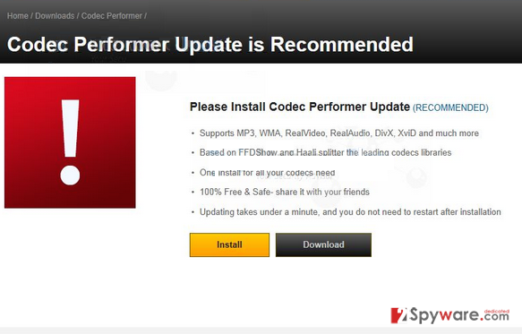 Codec Performer Update is Recommended snapshot