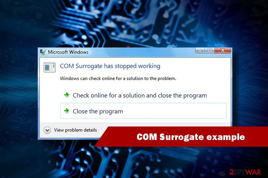 COM surrogate has stopped working example