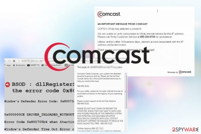 Comcast Cable Warning Alert pop-up