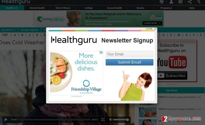Conditions.healthguru.com pop-up virus snapshot