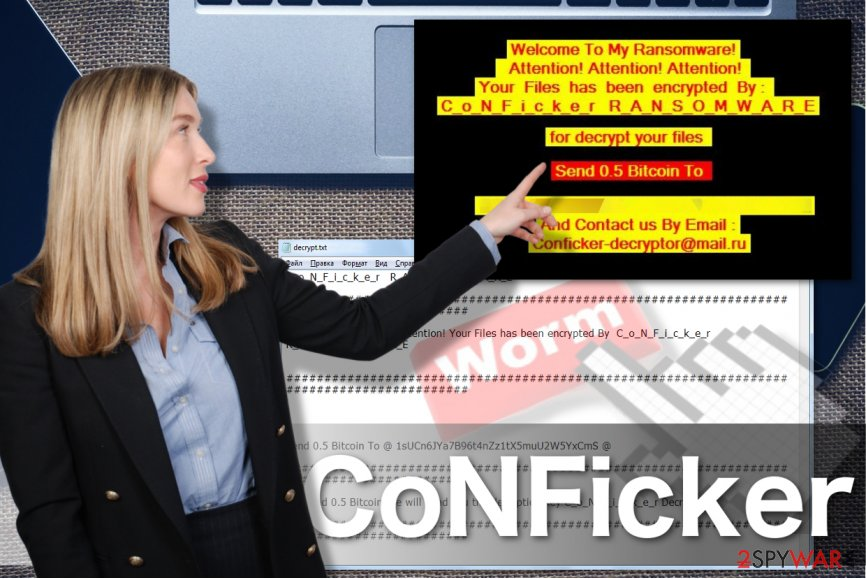 An image of the CoNFicker ransomware