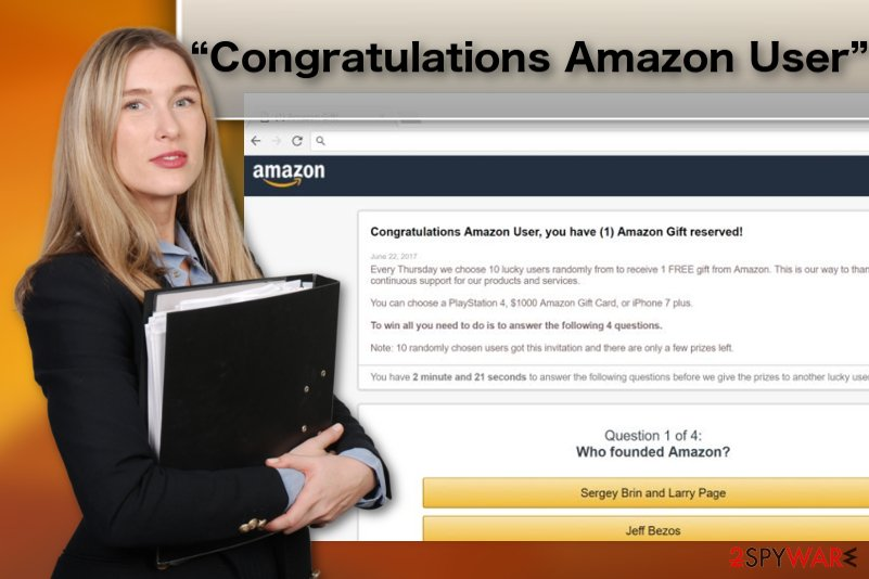 """Congratulations Amazon User"" adware virus illustration"