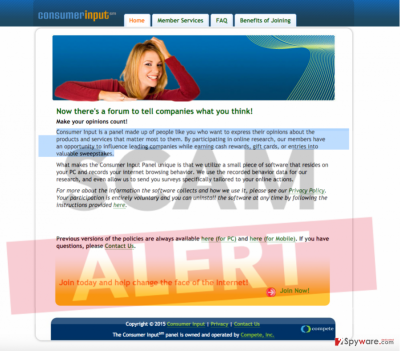 Consumer Input adware official website