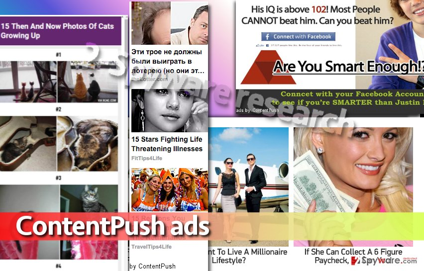 Image showing examples of ContentPush ads