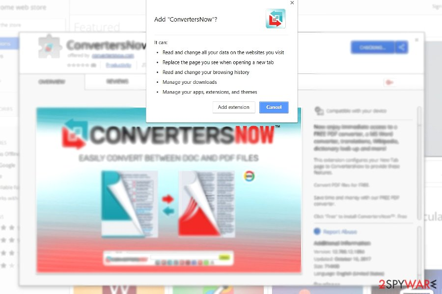 The picture illustrating ConvertersNow plug-in in Chrome