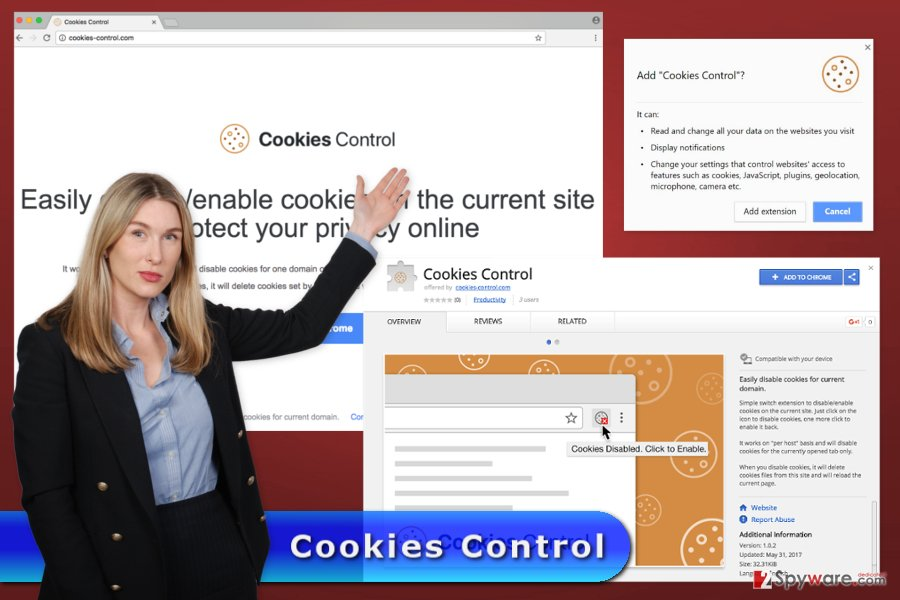 The image of Cookies Control virus