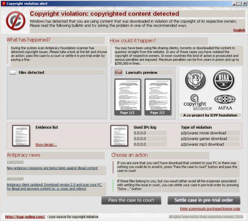 Copyright violation alert