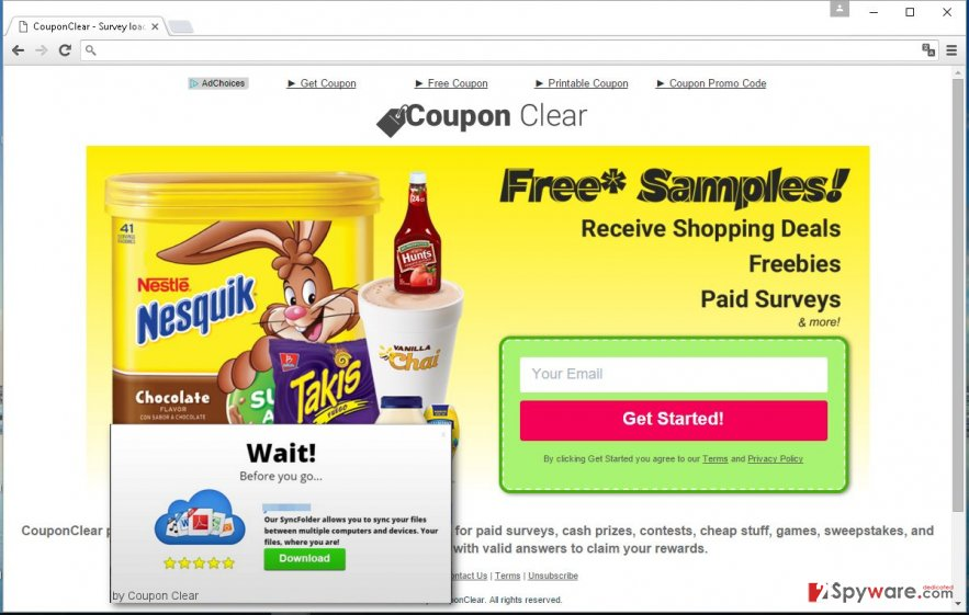 Coupon Clear ads pop-up on the computer screen unexpectedly