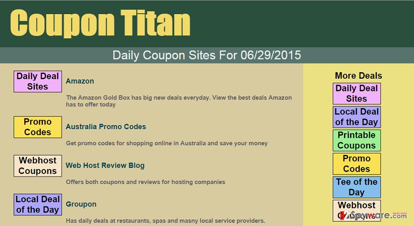 Coupon Titan ads