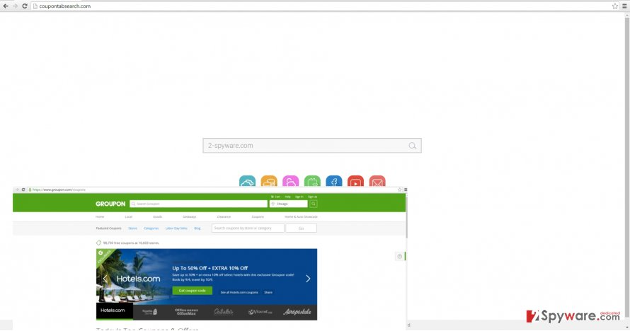 The screenshot of coupontabsearch.com