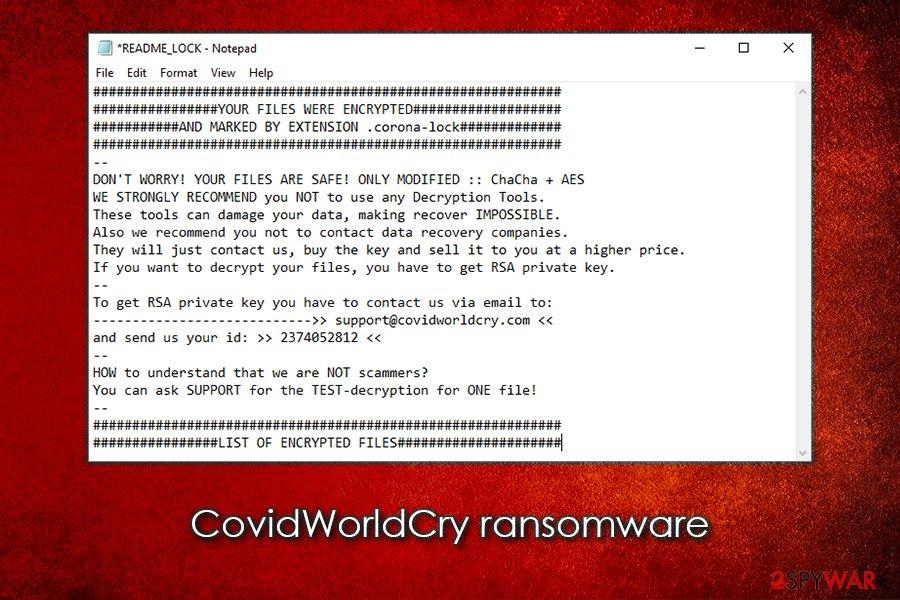 CovidWorldCry ransomware