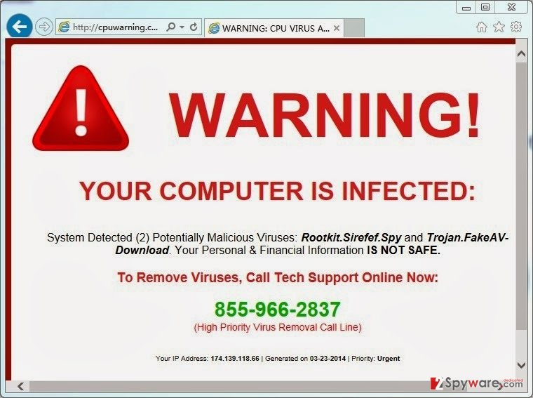CpuWarning.com pop-up virus snapshot
