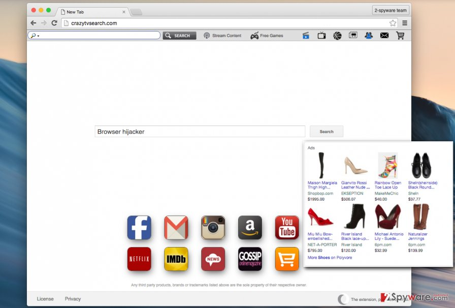 Crazytvsearch.com scam search engine