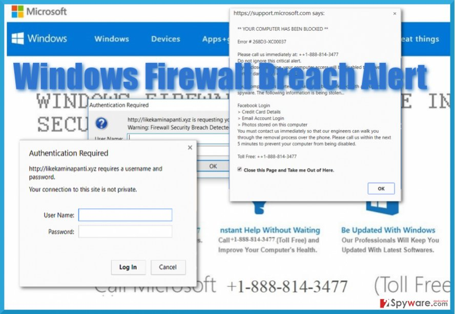 "The screenshot of  ""Windows Firewall Blocked The Internet"" virus"