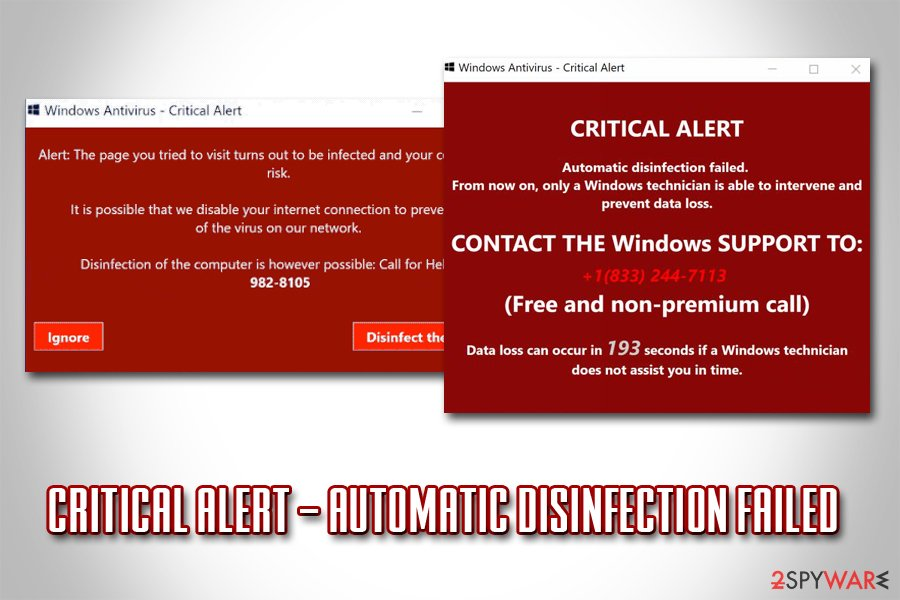 CRITICAL ALERT – Automatic disinfection failed