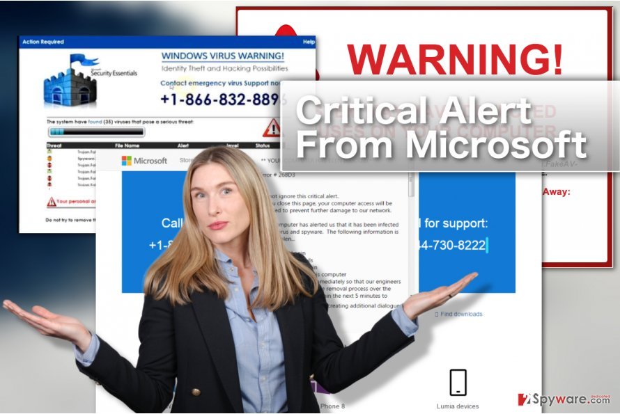 Image illustrating Critical Alert From Microsoft pop-ups