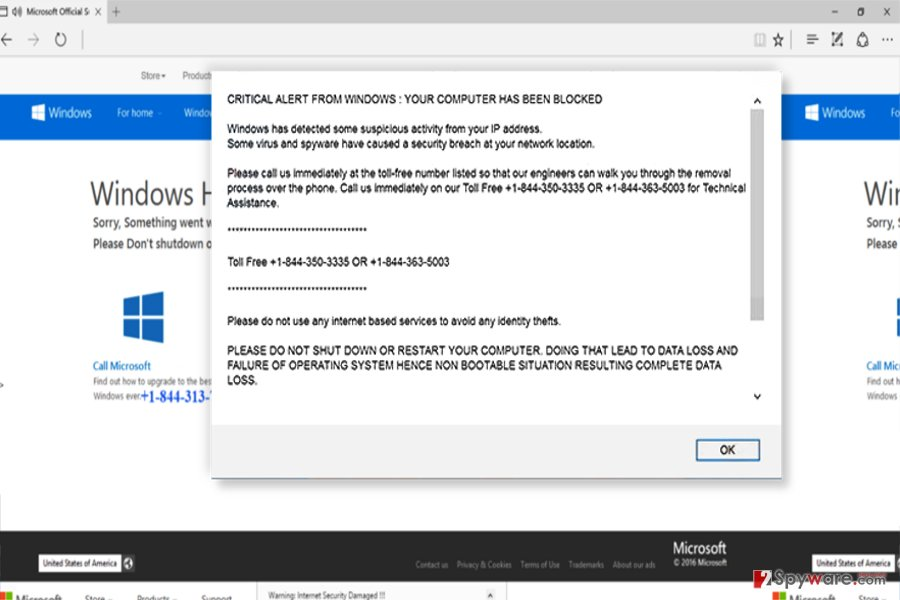 """CRITICAL ALERT FROM WINDOWS"" fake pop-up"
