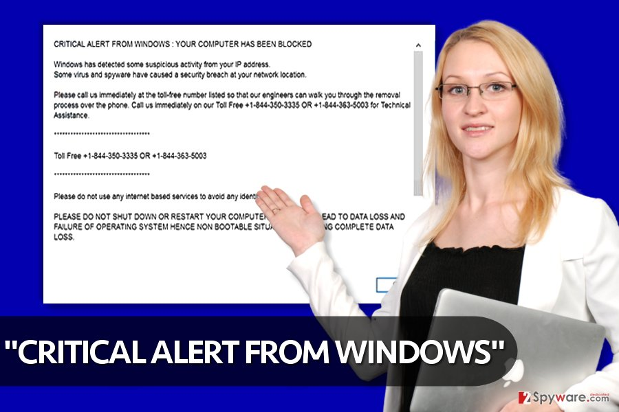 """CRITICAL ALERT FROM WINDOWS"" virus"